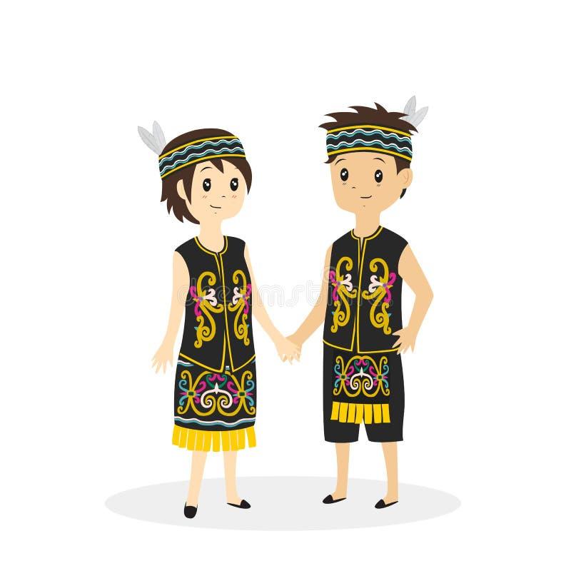Vetor tradicional da roupa do Dayak ilustração do vetor