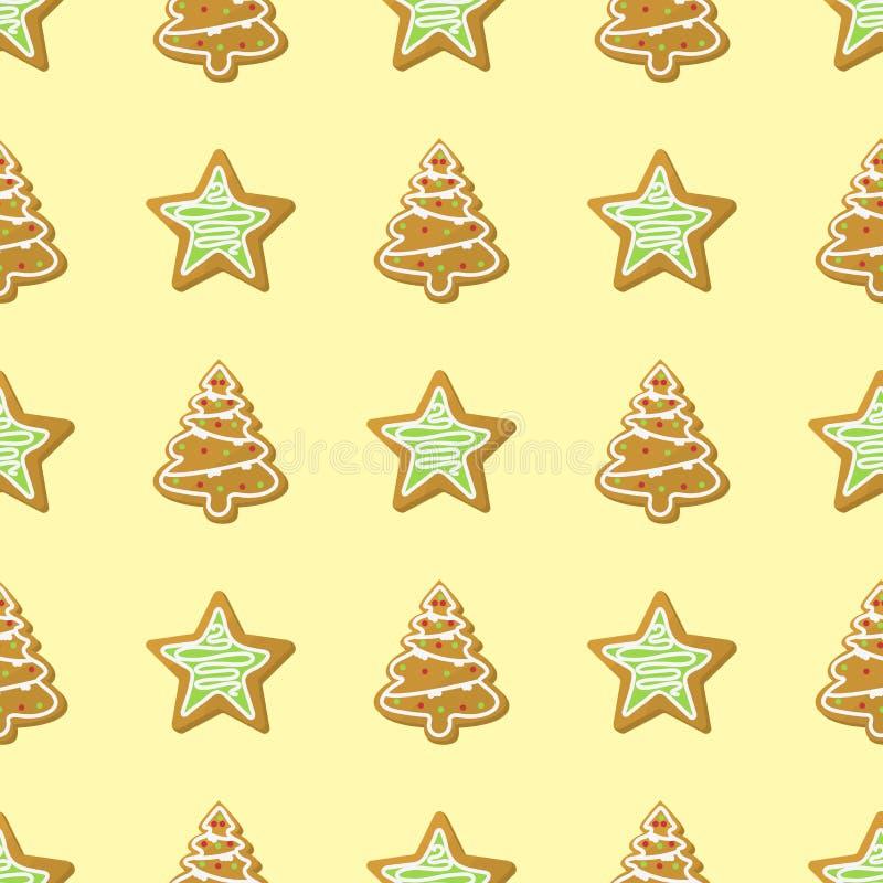 Vetor tradicional do feriado do bolo da cookie sem emenda doce do bolo do teste padrão do Natal ilustração do vetor