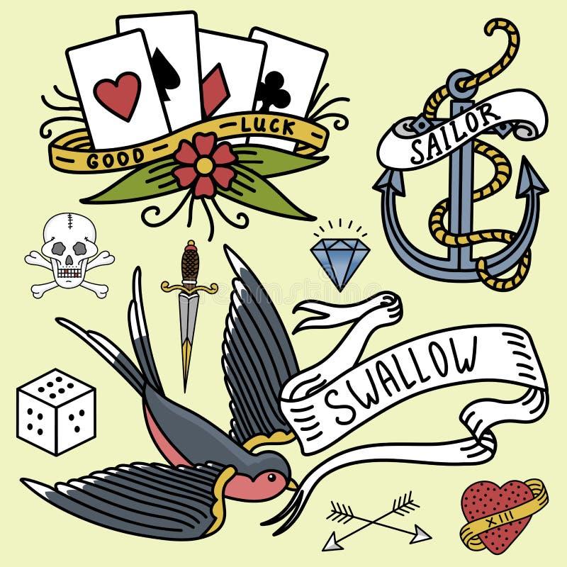 Vetor tradicional tattooing tirado do desenho gráfico do símbolo do estilo da arte da tinta da tatuagem do vintage da velha escol ilustração do vetor