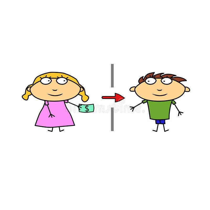 Vetor Transferência de dinheiro aos povos Homem e mulher com dinheiro Ilustração para anunciar serviços de operação bancária Obte ilustração stock