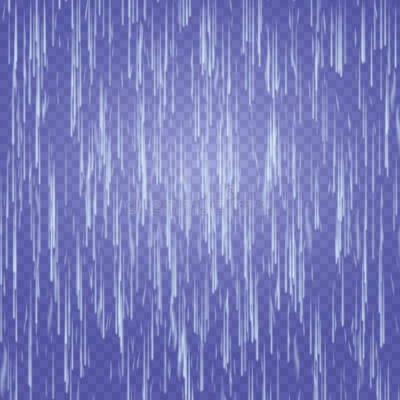 Vetor transparente da cachoeira Textura de queda abstrata da água Natureza ou parede artificial das gotas da água azul Fundo Chec ilustração royalty free
