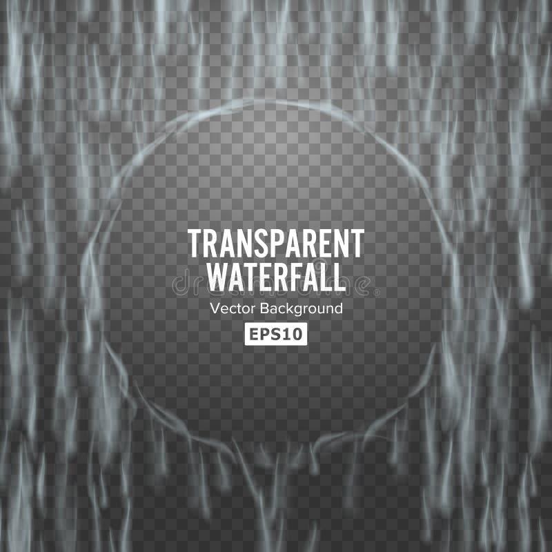 Vetor transparente da cachoeira Textura de queda abstrata da água Natureza ou parede artificial das gotas da água azul Fundo Chec ilustração stock