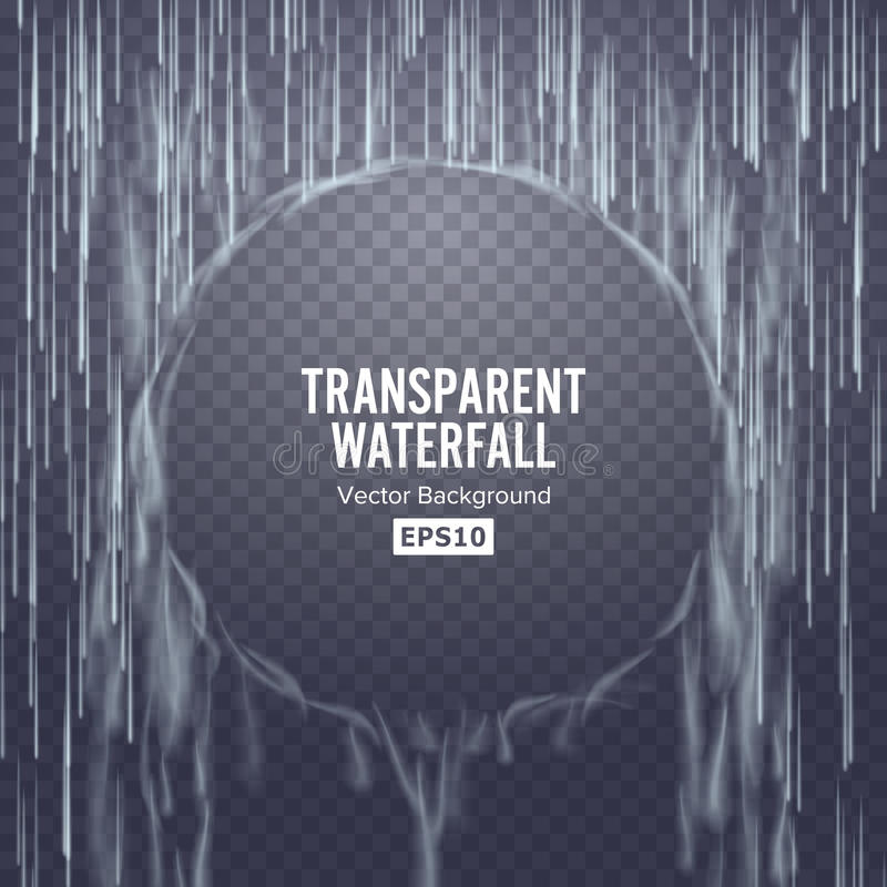 Vetor transparente da cachoeira Textura de queda abstrata da água Natureza ou parede artificial das gotas da água azul Fundo Chec ilustração do vetor