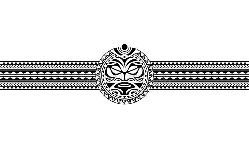 Vetor tribal do teste padrão da luva da beira polinésia maori da tatuagem ilustração do vetor