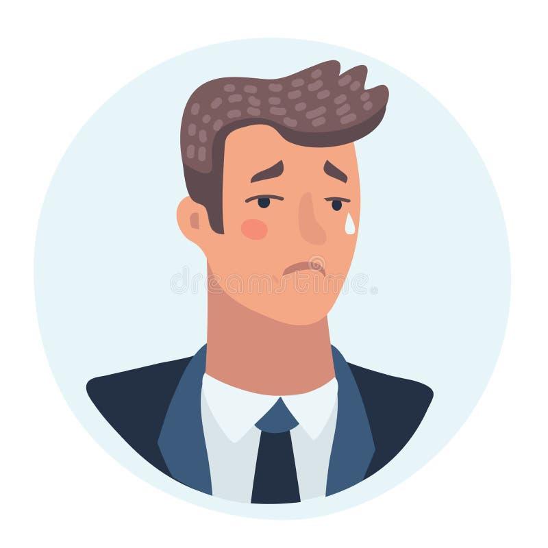 Vetor tristemente de grito da cara do homem com emoções deprimidas ilustração royalty free