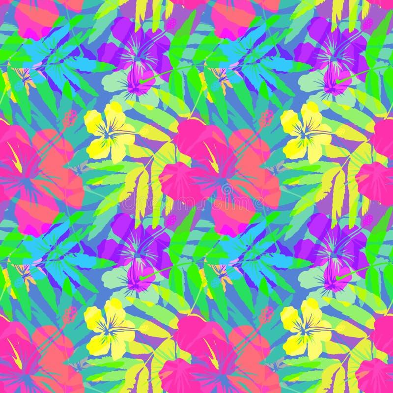 Vetor tropical vívido das flores e das folhas sem emenda ilustração royalty free