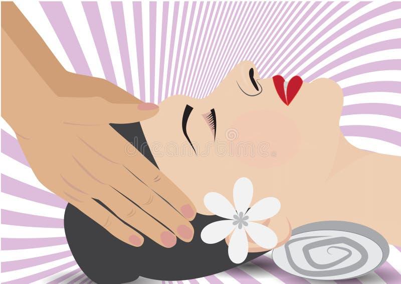 Vetor - uma ilustração da mulher que aprecia a massagem nos termas ilustração royalty free