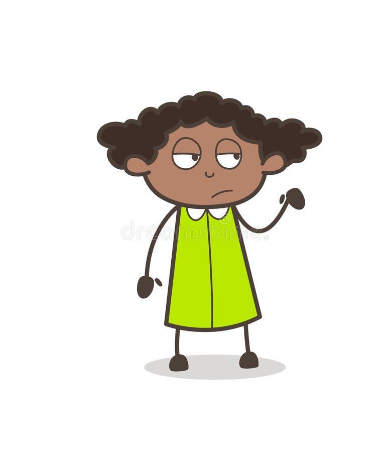 Vetor Unamused da expressão da cara da menina cômica ilustração stock