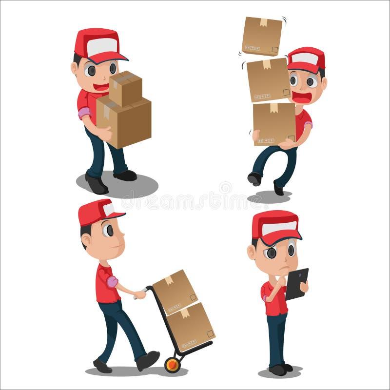 Vetor uniforme vermelho da entrega do caráter do homem ilustração royalty free