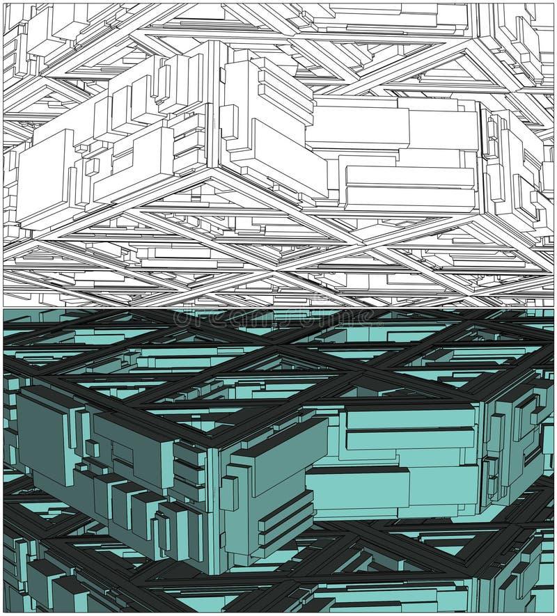 Vetor urbano abstrato da construção da cidade ilustração stock