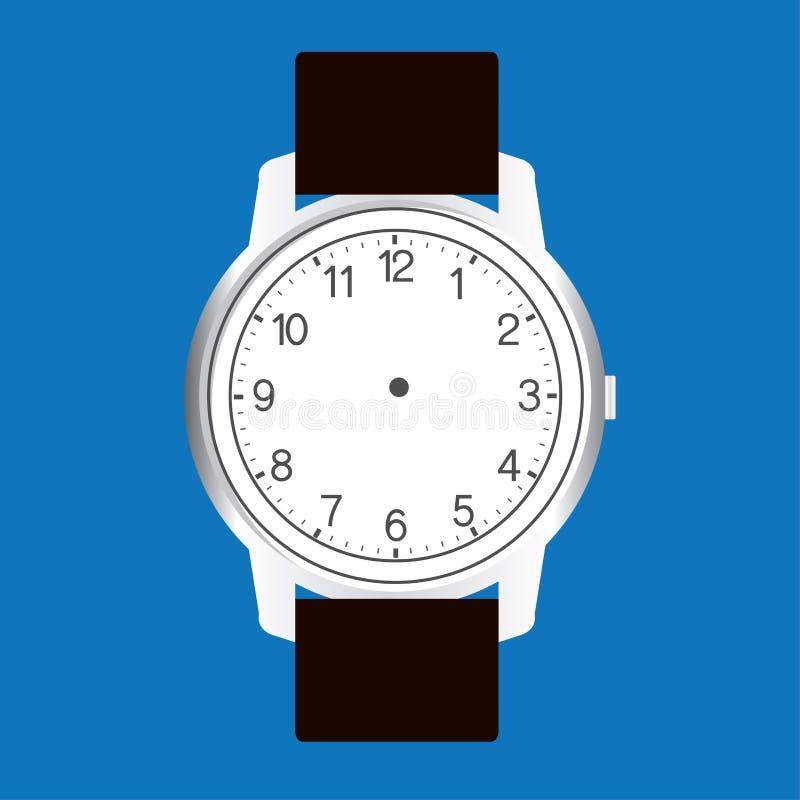 Vetor vazio da cara do relógio da mão no fundo azul ilustração stock