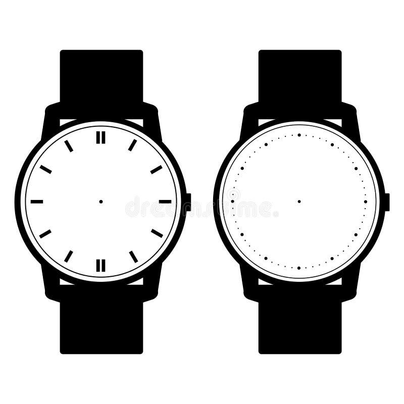 Vetor vazio da cara do relógio da mão no fundo branco ilustração do vetor