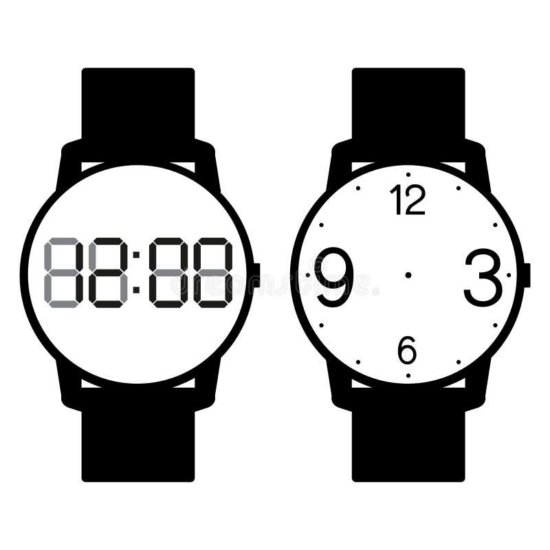 Vetor vazio da cara do relógio da mão no fundo branco ilustração royalty free