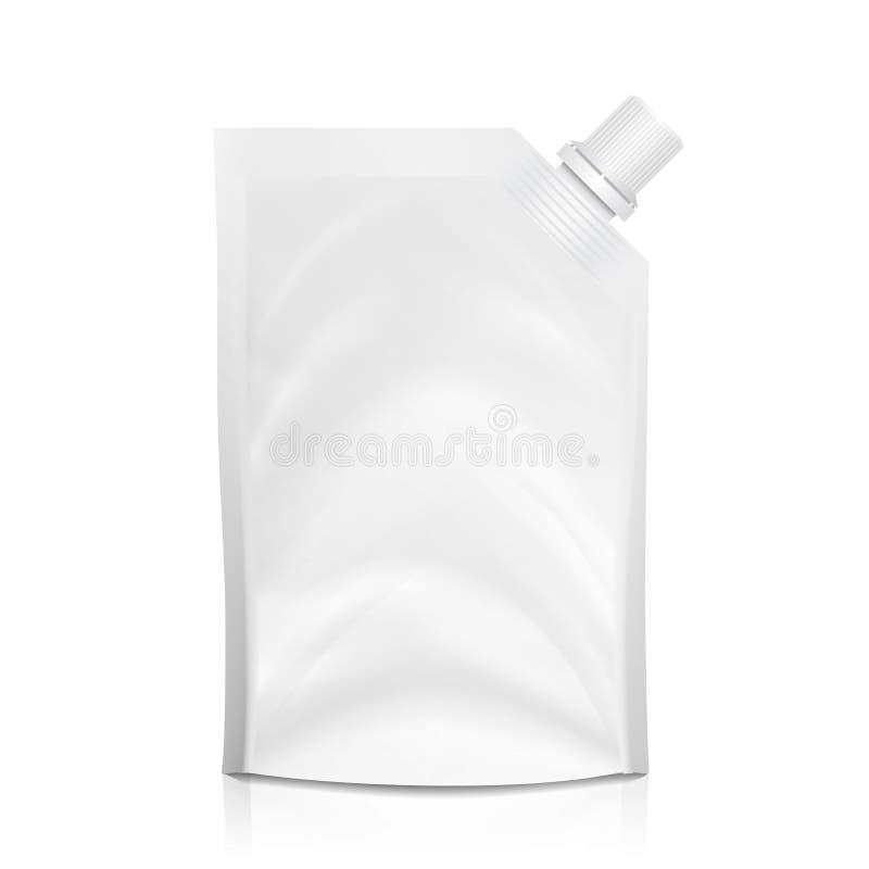 vetor vazio do Doy-bloco Saco limpo branco de Doypack que empacota com a tampa de canto do bico Molde jorrado plástico do malote ilustração stock