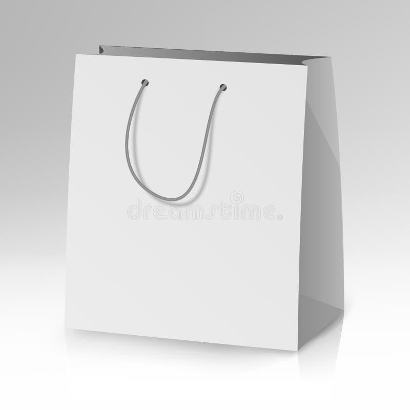 Vetor vazio do molde do saco de papel Ilustração realística do saco do presente ilustração do vetor