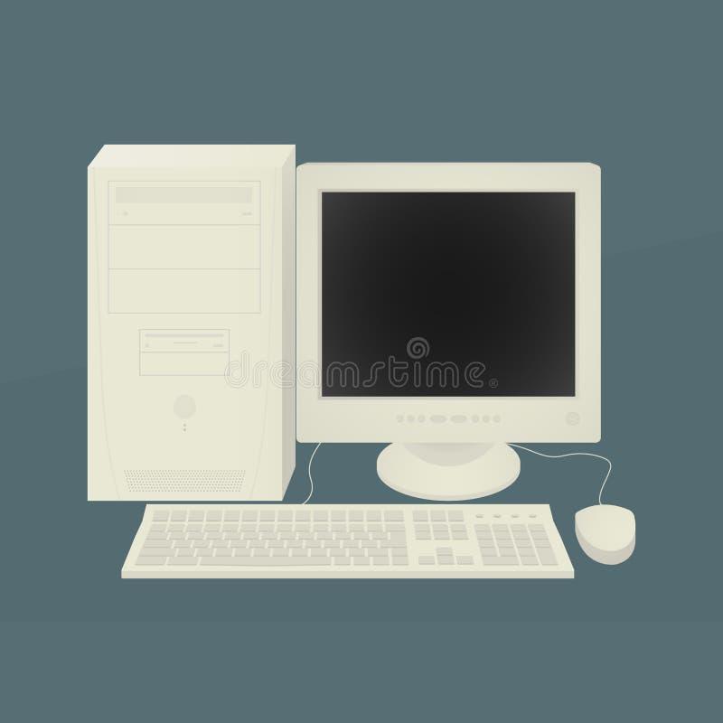 Vetor velho da ilustração do computador pessoal ilustração stock