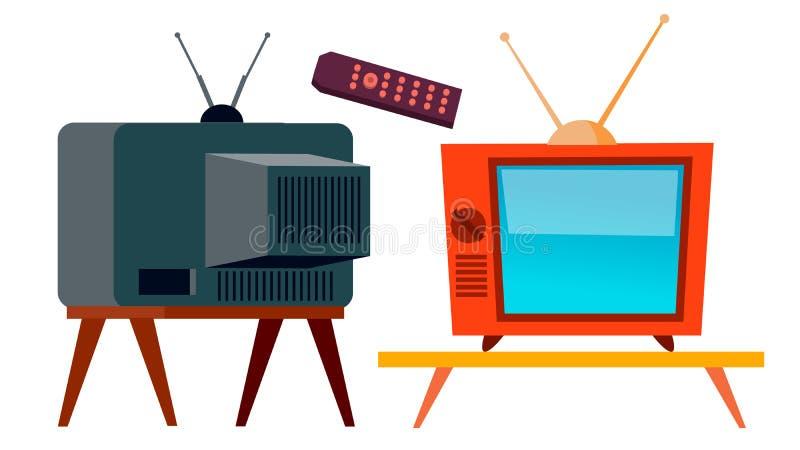 Vetor velho da tevê Tela retro da televisão Ilustração isolada dos desenhos animados ilustração do vetor
