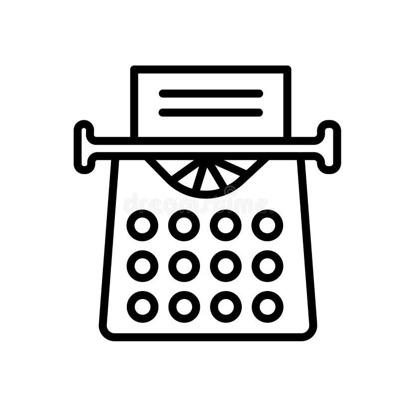 Vetor velho do ícone da máquina de escrever isolado no fundo branco, no sinal velho da máquina de escrever, no símbolo linear e n ilustração royalty free