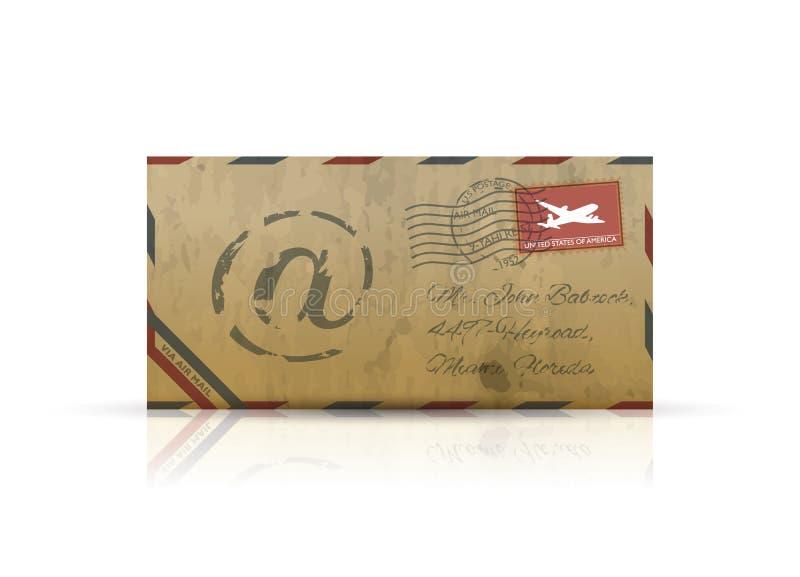Vetor velho do envelope do correio aéreo do vintage ilustração royalty free