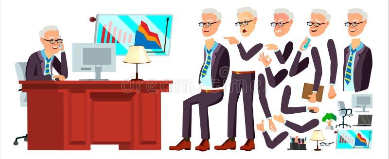 Vetor velho do trabalhador de escritório Emoções da cara, vários gestos animation Homem de negócios Human Empregado moderno do ar ilustração stock