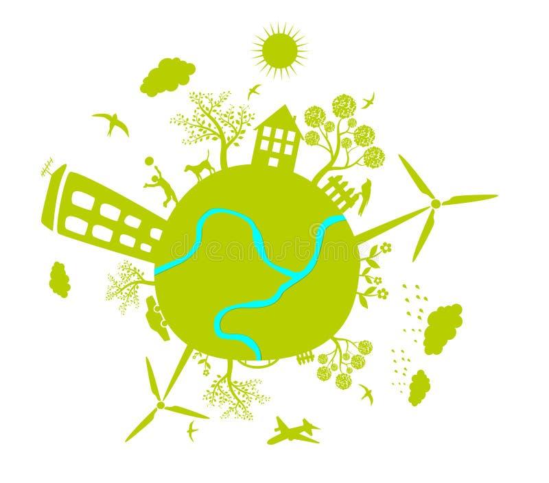 Vetor verde da terra da vida ilustração royalty free