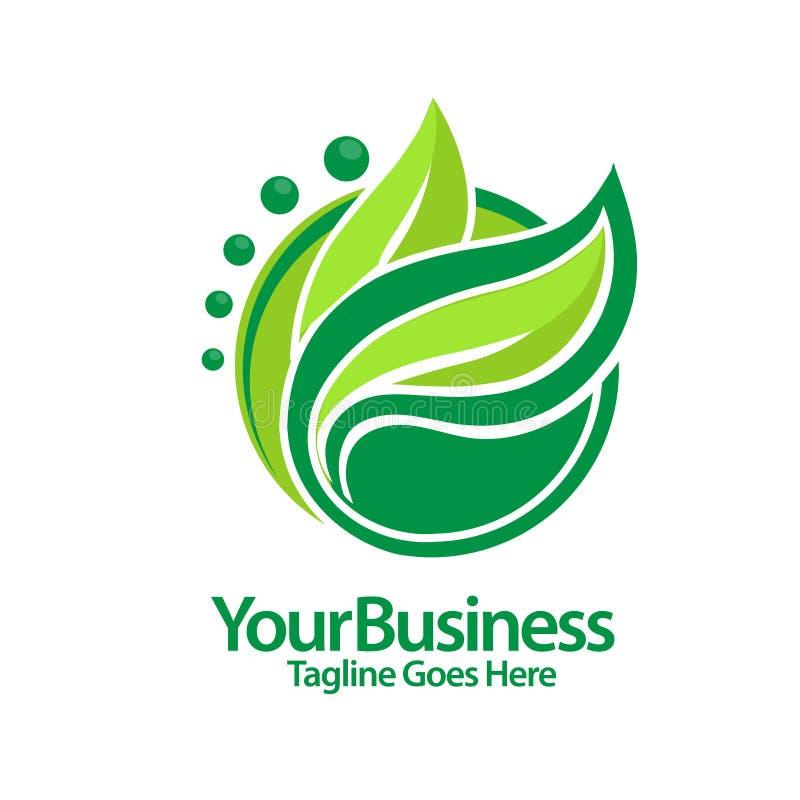 Vetor verde do logotipo do círculo da folha ilustração royalty free