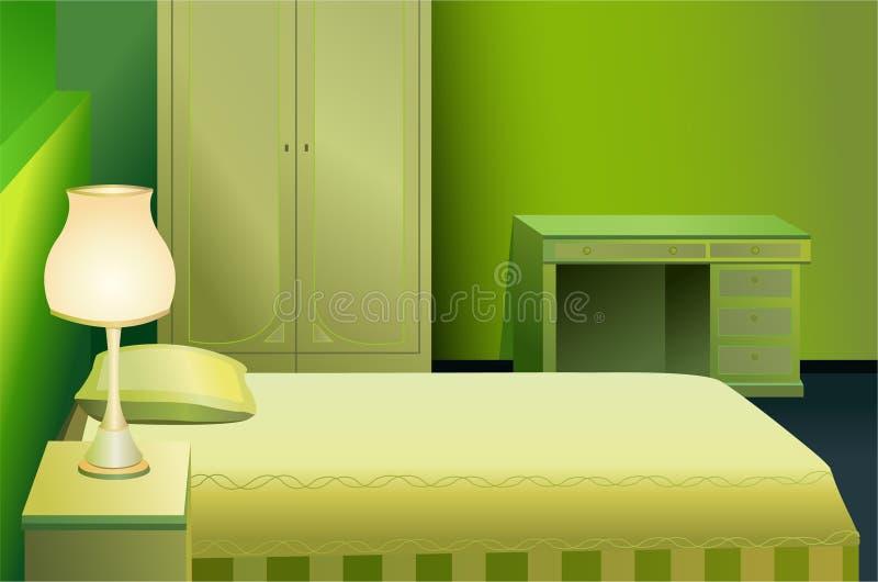 Vetor verde do quarto da cama ilustração stock