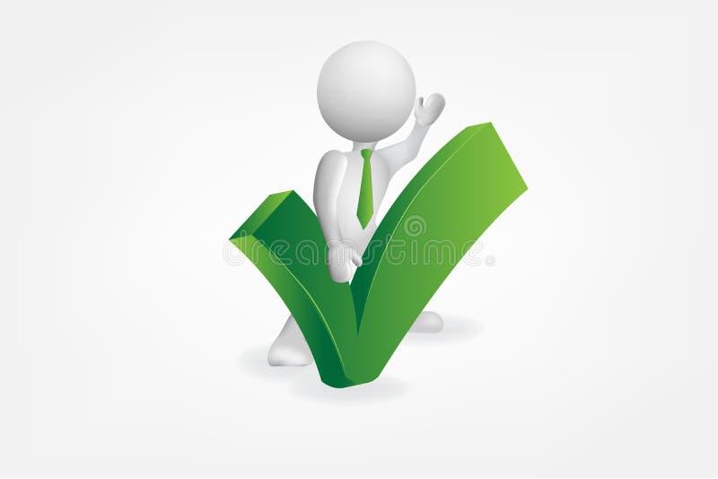 vetor verde do sinal positivo da aprovação dos povos 3D pequenos ilustração royalty free