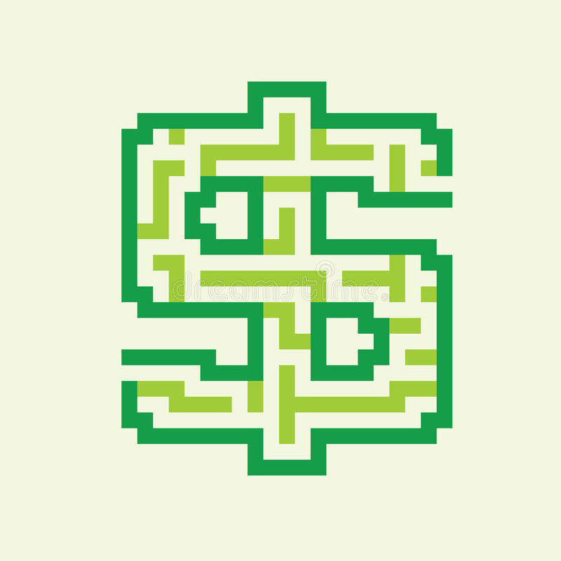 Vetor verde liso do labirinto do negócio do dólar ilustração stock