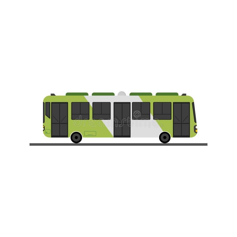 Vetor verde liso do projeto do ônibus com o isolatd branco Ônibus público moderno ilustração stock