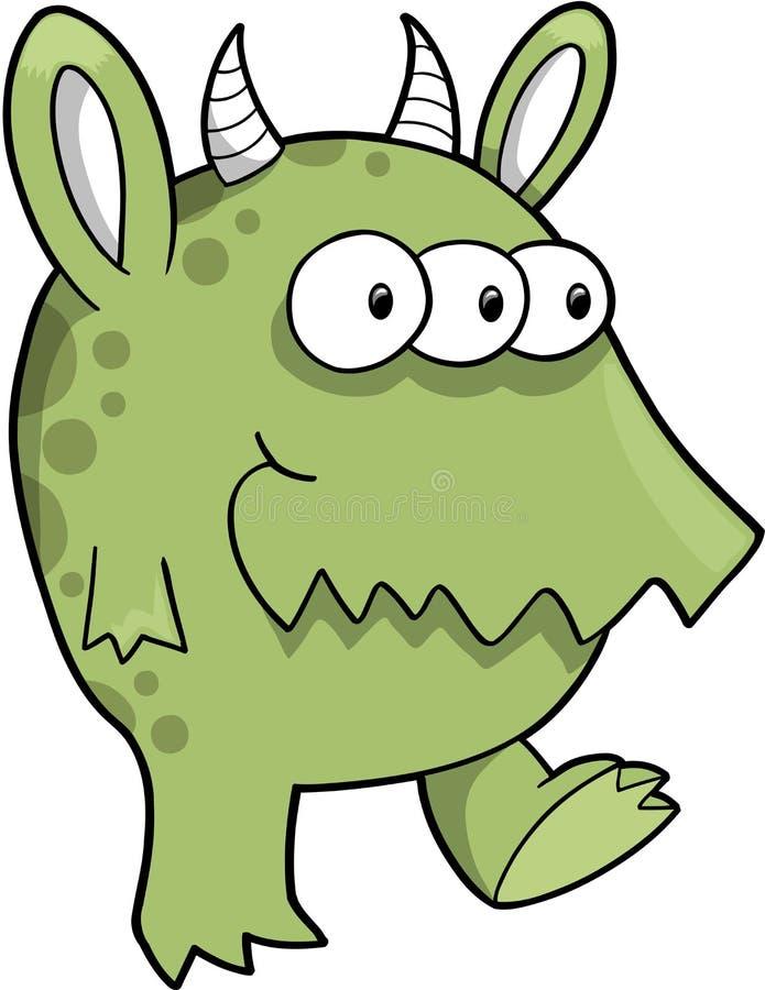 Vetor verde médio do monstro ilustração stock