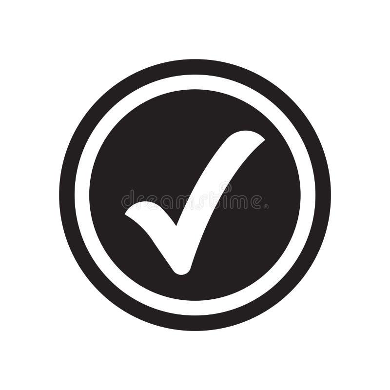 Vetor verificado do ícone isolado no fundo branco, sinal verificado ilustração do vetor