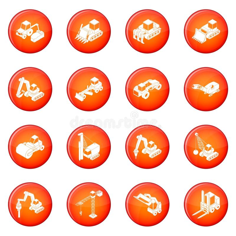 Vetor vermelho ajustado ícones dos materiais de construção ilustração do vetor