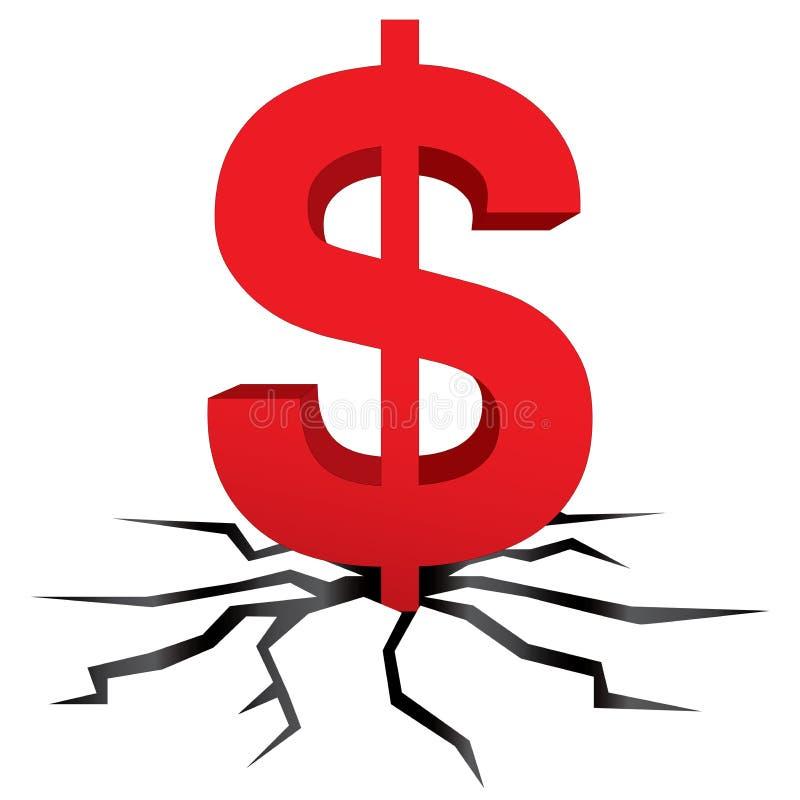 Vetor vermelho da quebra da terra do dólar ilustração royalty free