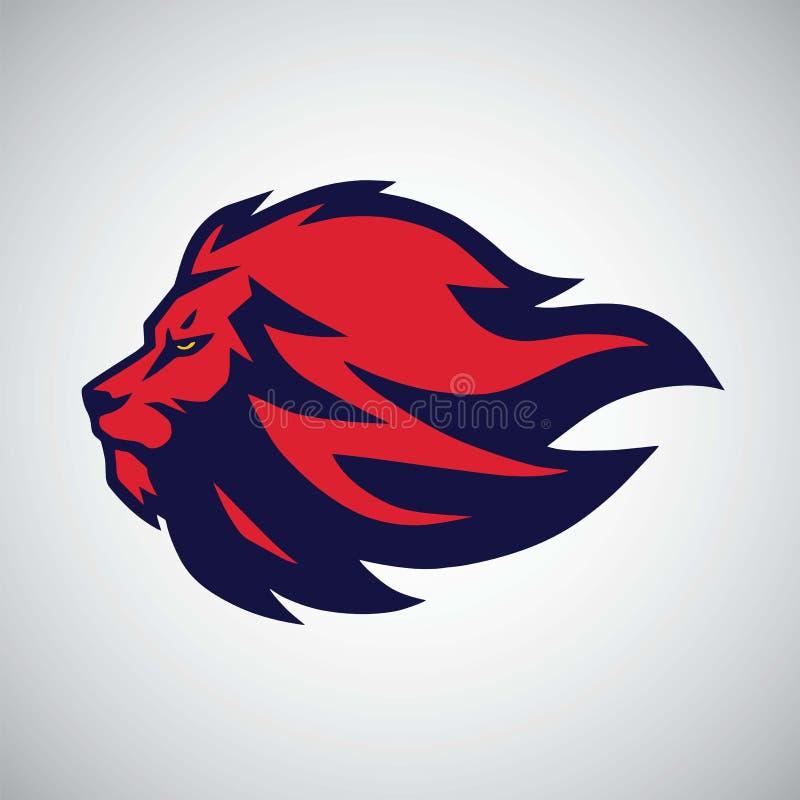 Vetor vermelho de Lion Head Logo Sport Mascot ilustração royalty free