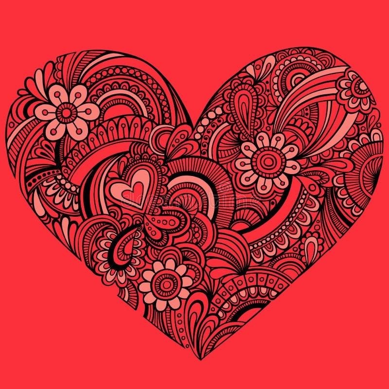 Vetor vermelho delicado do coração de Paisley do Henna ilustração stock