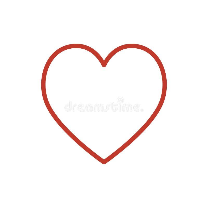 Vetor vermelho do ícone do coração Linha símbolo do amor da cor isolado Projeto liso na moda do sinal do ui do esboço Li fino ilustração royalty free
