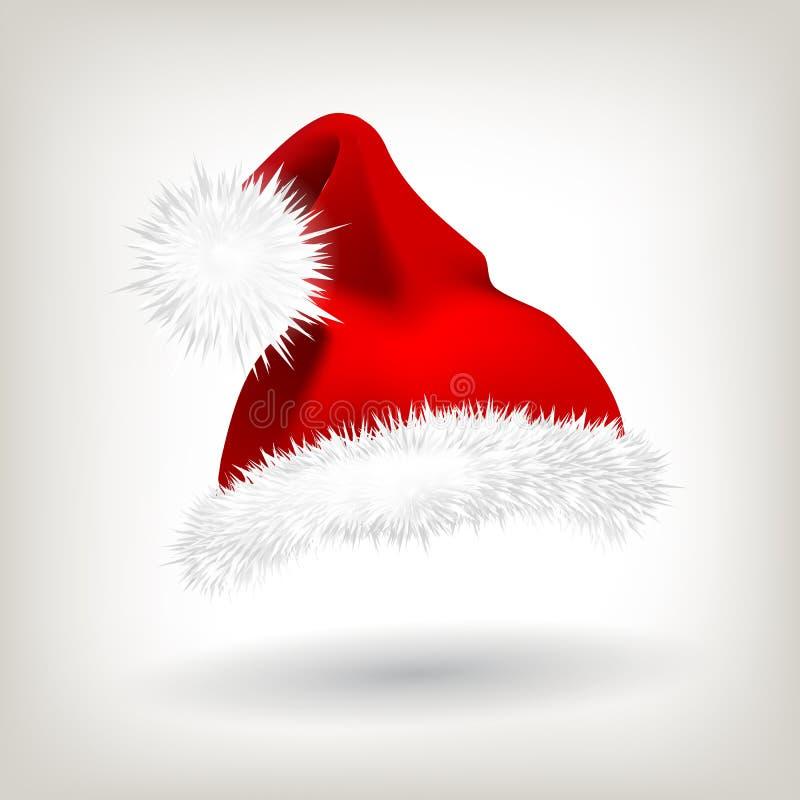 Vetor vermelho do chapéu de Santa Ícone do partido Fundo principal Ícone do feriado Tampão de Santa Claus Holiday Red And White N ilustração stock