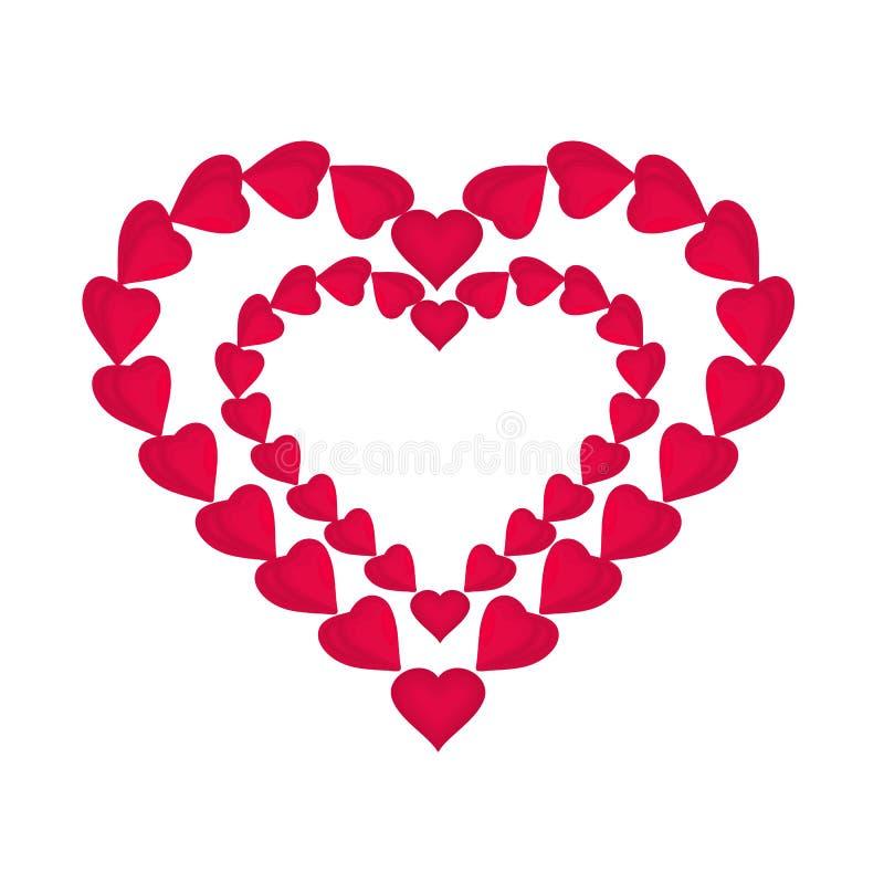 Vetor vermelho do dia de Valentim dos corações ilustração do vetor