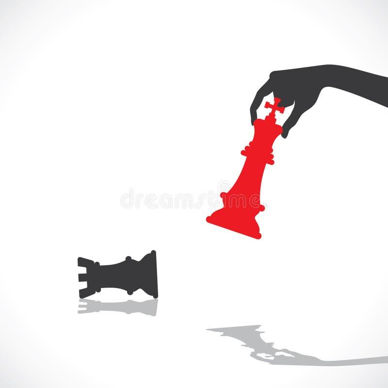 Conceito vermelho do bishop da derrota do rei da xadrez ilustração do vetor