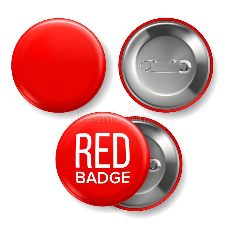 Vetor vermelho do modelo do crachá Pin Brooch Red Button Blank Dois lados Parte dianteira, vista traseira Projeto de marcagem com ilustração royalty free