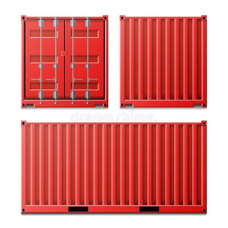 Vetor vermelho do recipiente de carga Recipiente de carga clássico Conceito do transporte do frete Logística, zombaria do transpo ilustração do vetor