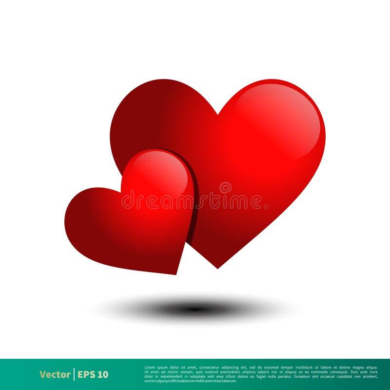 vetor vermelho Logo Template Illustration Design do ícone do coração 3D Vetor EPS 10 ilustração do vetor