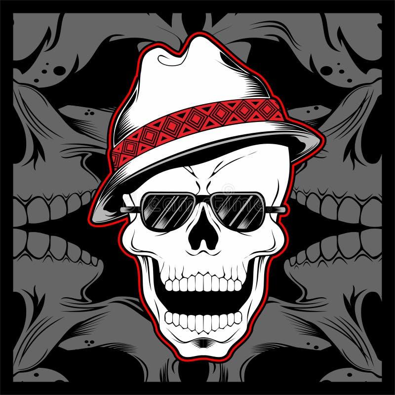 Vetor vestindo do desenho da mão do chapéu do fedora do crânio do gângster ilustração stock