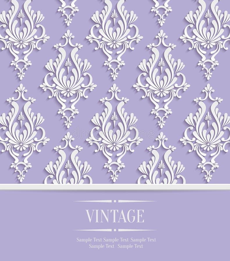 Vetor Violet Vintage Invitation Card com teste padrão floral do damasco 3d ilustração do vetor