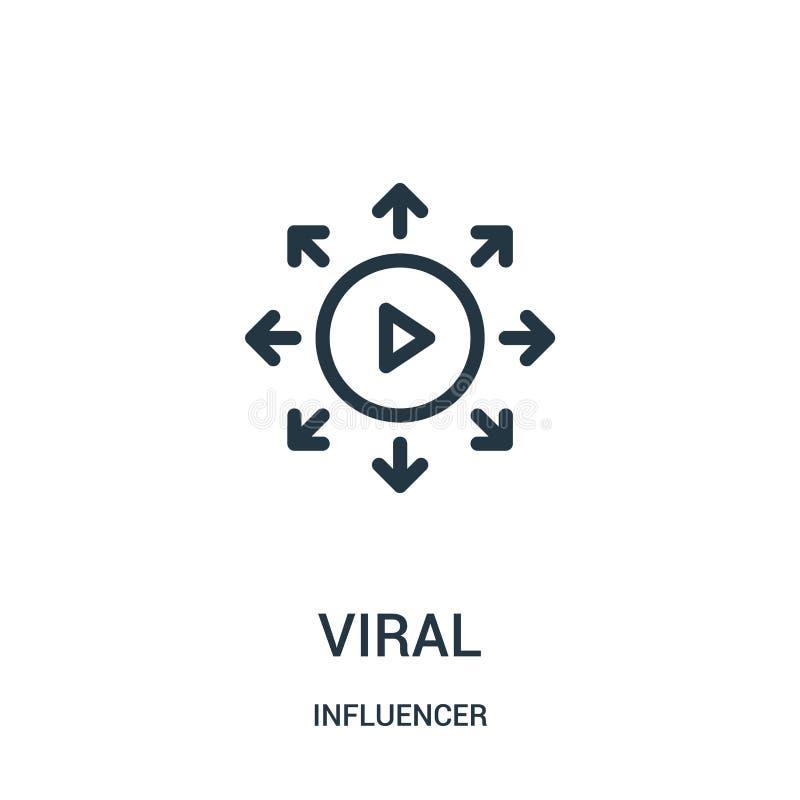 vetor viral do ícone da coleção do influencer Linha fina ilustração viral do vetor do ícone do esboço ilustração do vetor