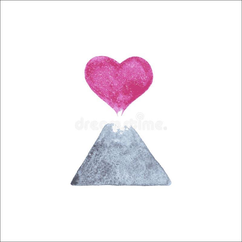 Vetor Volcano Heart ilustração stock