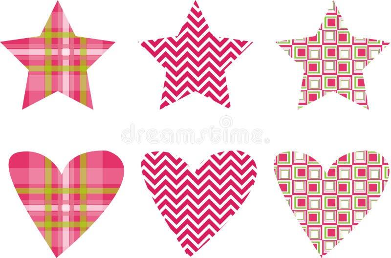 Vetores bonitos do teste padrão da estrela & do coração ilustração royalty free