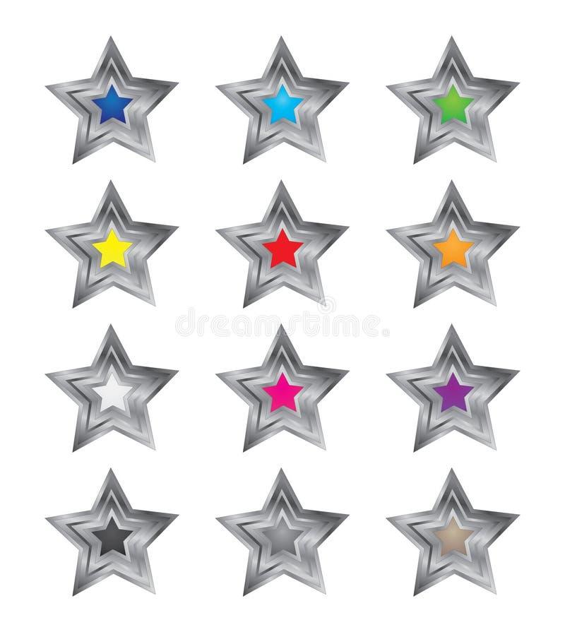 vetores coloridos da estrela 3D foto de stock royalty free