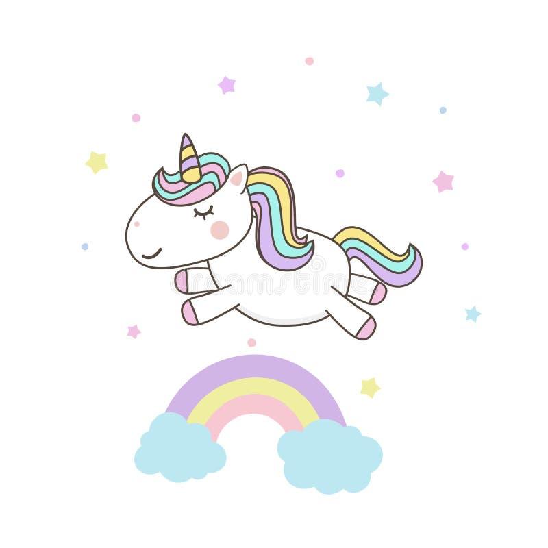 Vetores de personagem de desenhos animados da Unicórnio com arco-íris pastel. Kawaii Filly Unicorn, pônei de Fairytale isolado  ilustração stock